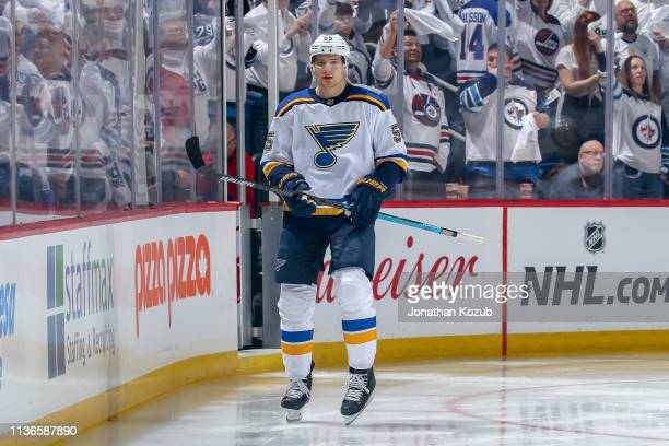Colton Parayko of the St Louis Blues hits the ice prior to puck drop against the Winnipeg Jets in Game Two of the Western Conference First Round...