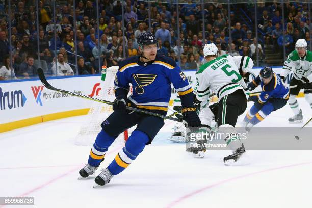 Colton Parayko of the St Louis Blues in action against the Dallas Stars of the Scottrade Center on October 7 2017 in St Louis Missouri