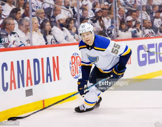 Colton Parayko of the St Louis Blues plays the puck around the boards during second period action against the Winnipeg Jets in Game Two of the...