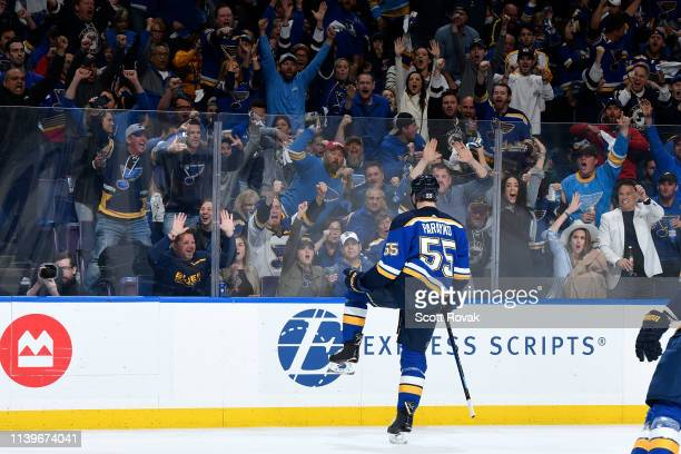Colton Parayko of the St Louis Blues reacts after scoring a goal against the Dallas Stars in Game Two of the Western Conference Second Round during...