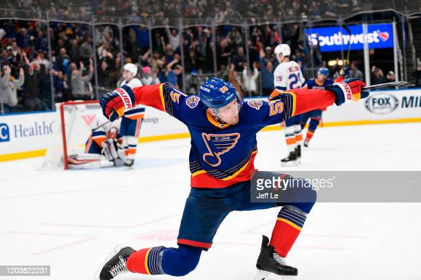 Colton Parayko of the St Louis Blues reacts after scoring the game winning goal in overtime against the New York Islanders at Enterprise Center on...