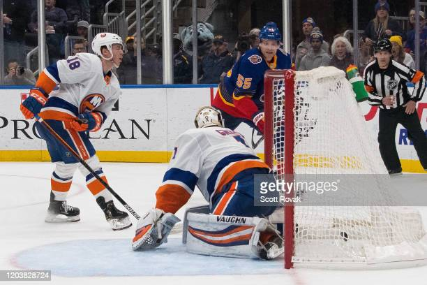 Colton Parayko of the St Louis Blues scores a goal in overtime to defeat the New York Islanders at Enterprise Center on February 27 2020 in St Louis...