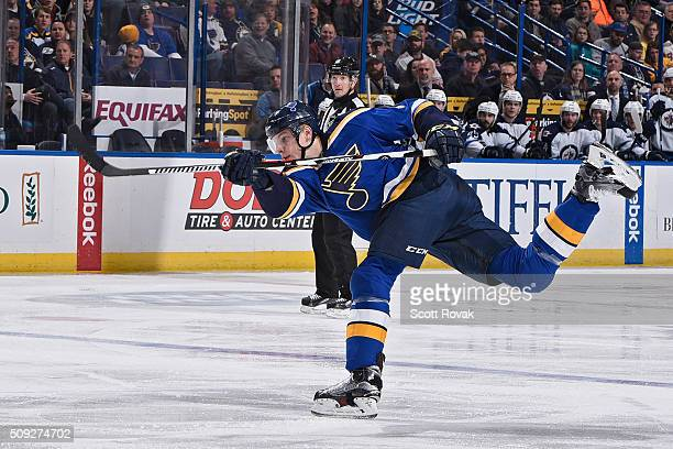 Colton Parayko of the St Louis Blues shoots and scores against the Winnipeg Jets at the Scottrade Center on February 9 2016 in St Louis Missouri