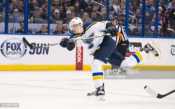 Colton Parayko of the St Louis Blues shoots the puck against the Tampa Bay Lightning at the Amalie Arena on February 14 2016 in Tampa Florida