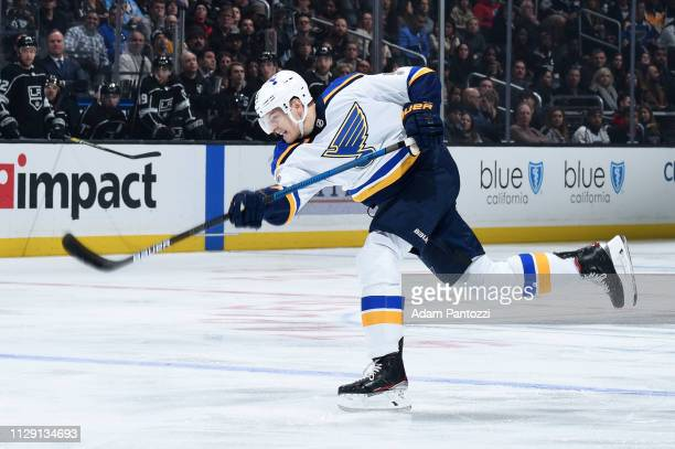 Colton Parayko of the St Louis Blues shoots the puck during the second period of the game against the Los Angeles Kings at STAPLES Center on March 7...
