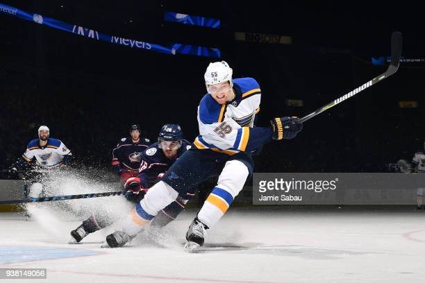 Colton Parayko of the St Louis Blues skates against the Columbus Blue Jackets on March 24 2018 at Nationwide Arena in Columbus Ohio Colton Parayko