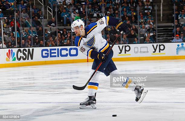 Colton Parayko of the St Louis Blues skates against the San Jose Sharks in Game Four of the Western Conference Finals during the 2016 NHL Stanley Cup...
