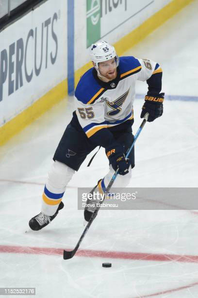 Colton Parayko of the St Louis Blues skates with the puck against the Boston Bruins in Game Two of the Stanley Cup Final during the 2019 NHL Stanley...