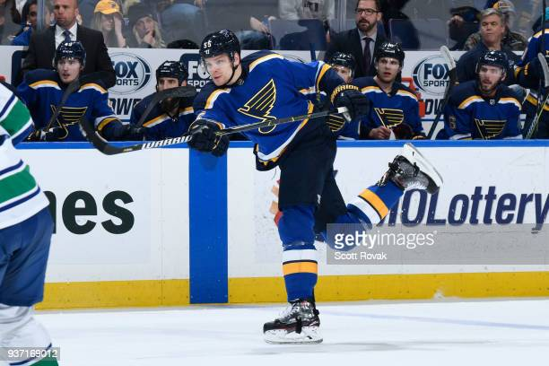 Colton Parayko of the St Louis Blues takes a shot against the Vancouver Canucks at Scottrade Center on March 23 2018 in St Louis Missouri