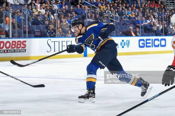 Colton Parayko of the St Louis Blues takes a shot against the Calgary Flames at Enterprise Center on October 11 2018 in St Louis Missouri