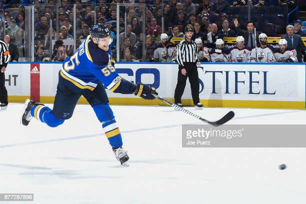 Colton Parayko of the St Louis Blues takes a shot against the Edmonton Oilers at Scottrade Center on November 21 2017 in St Louis Missouri