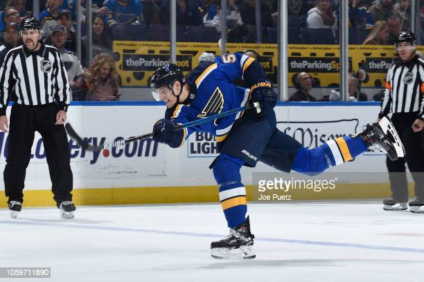 Colton Parayko of the St Louis Blues takes a shot against the San Jose Sharks at Enterprise Center on November 9 2018 in St Louis Missouri