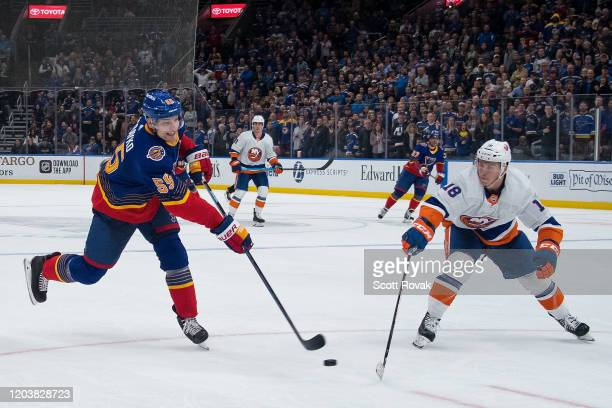 Colton Parayko of the St Louis Blues takes a shot as Anthony Beauvillier of the New York Islanders defends at Enterprise Center on February 27 2020...