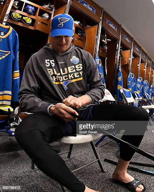 Colton Parayko of the St Louis Blues tapes his stick prior to the 2017 Bridgestone NHL Winter Classic Game at Busch Stadium on January 2 2017 in St...