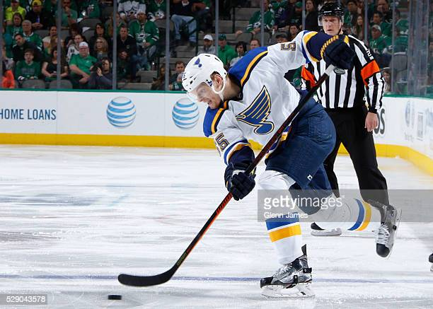 Colton Parayko of the St Louis Blues winds up a shot against the Dallas Stars in Game Two of the Western Conference Second Round during the 2016 NHL...