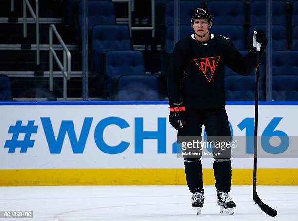 Colton Parayko stands of the ice during a practice at the Centre Videotron on September 10 2016 in Quebec City Quebec Canada