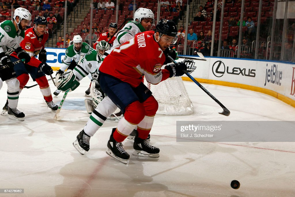 Colton Sceviour #7 of the Florida Panthers skates for possession against Dan Hamhuis #2 of the Dallas Stars at the BB&T Center on November 14, 2017 in Sunrise, Florida.