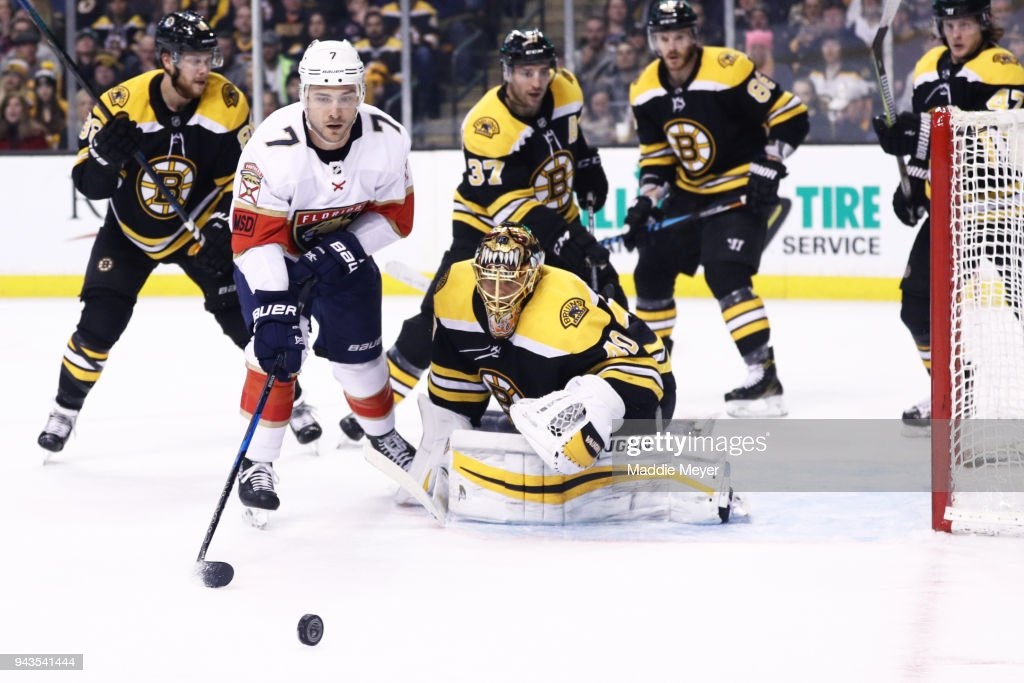 Colton Sceviour #7 of the Florida Panthers takes a shot against Tuukka Rask #40 of the Boston Bruins during the second period at TD Garden on April 8, 2018 in Boston, Massachusetts.
