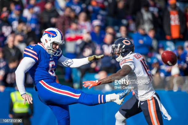 Colton Schmidt of the Buffalo Bills punts the ball away during the second quarter against the Chicago Bears at New Era Field on November 4 2018 in...