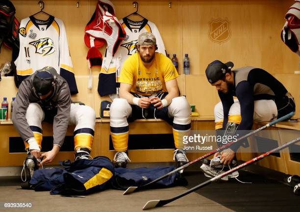 Colton Sissons Craig Smith and Pontus Aberg of the Nashville Predators prepare to play in Game Five of the 2017 NHL Stanley Cup Final against the...