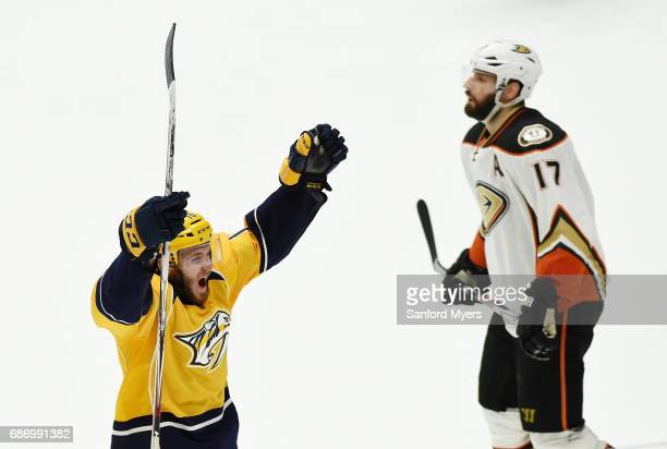 Colton Sissons of the Nashville Predators celebrates a third period goal in Game Six of the Western Conference Final against the Anaheim Ducks during...