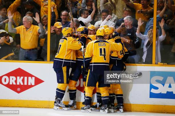 Colton Sissons of the Nashville Predators celebrates his goal against the Anaheim Ducks with teammates during the first period in Game Six of the...