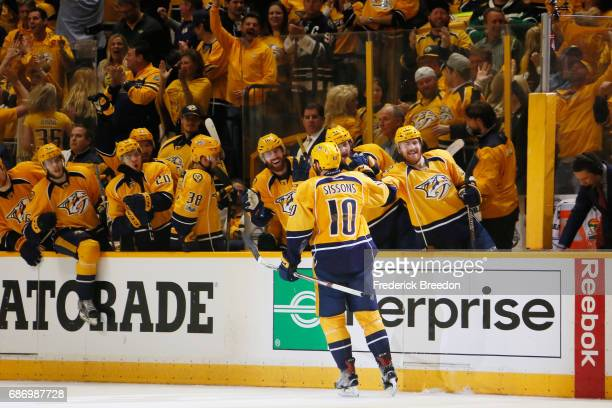 Colton Sissons of the Nashville Predators celebrates with teammates after scoring during the third period against the Anaheim Ducks in Game Six of...