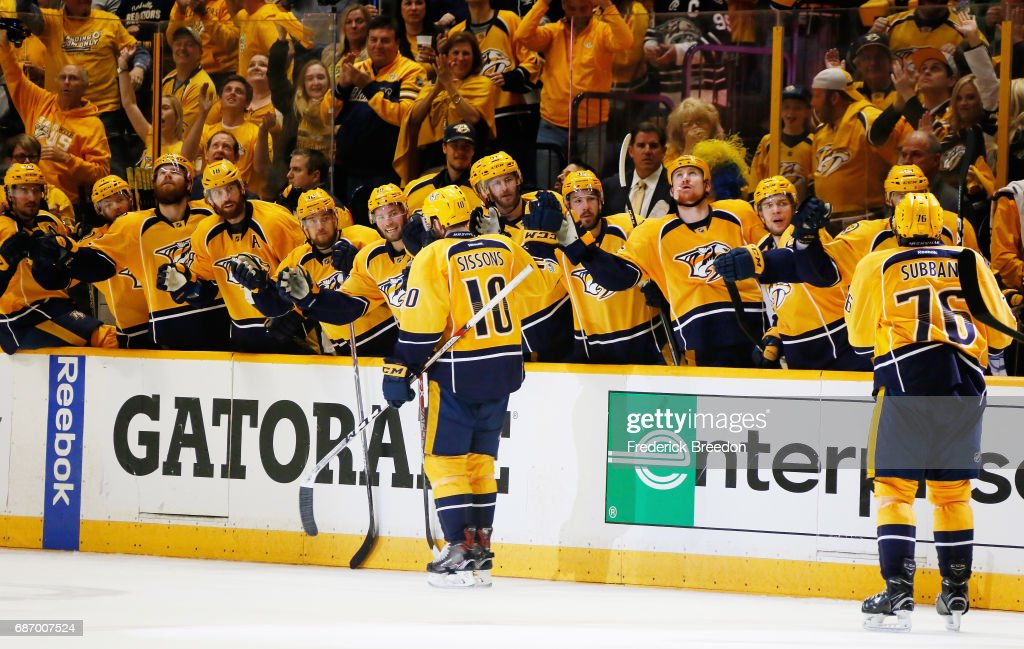 Colton Sissons #10 of the Nashville Predators celebrates with teammates after scoring during the third period against the Anaheim Ducks in Game Six of the Western Conference Final during the 2017 Stanley Cup Playoffs at Bridgestone Arena on May 22, 2017 in Nashville, Tennessee.