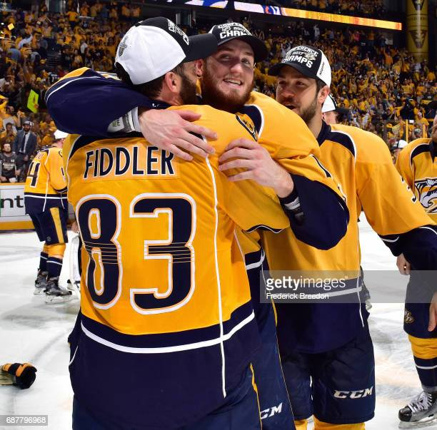 Colton Sissons of the Nashville Predators hugs teammate Vernon Fiddler after scoring a hat trick in a 63 victory over the Anaheim Ducks in Game Six...