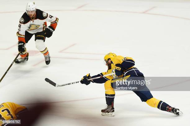 Colton Sissons of the Nashville Predators scores a goal against the Anaheim Ducks during the first period in Game Six of the Western Conference Final...