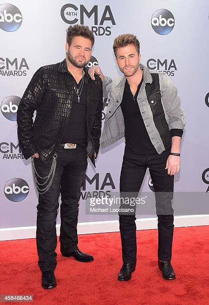 Colton Swon and Zach Swon of The Swon Brothers attend the 48th annual CMA Awards at the Bridgestone Arena on November 5 2014 in Nashville Tennessee