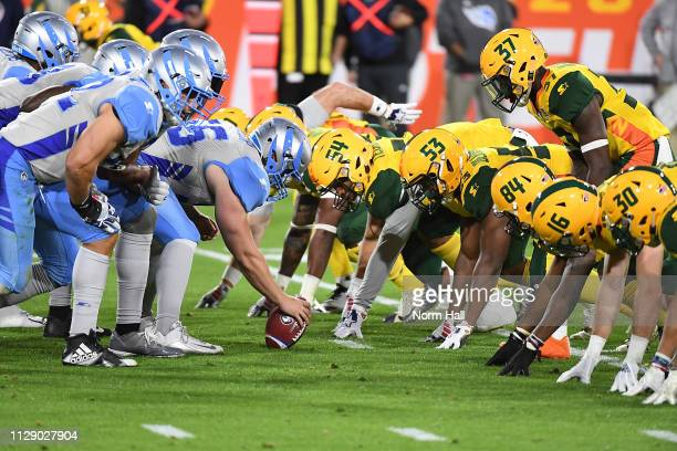Colton Taylor of the Salt Lake Stallions gets ready to snap the ball during the Alliance of American Football game against the Arizona Hotshots at...