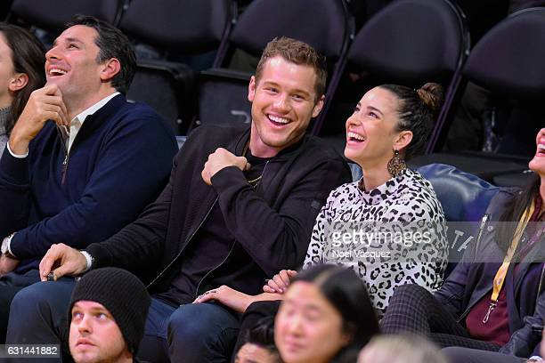 Colton Underwood and Aly Raisman attend a basketball game between the Portland Trail Blazers and the Los Angeles Lakers at Staples Center on January...