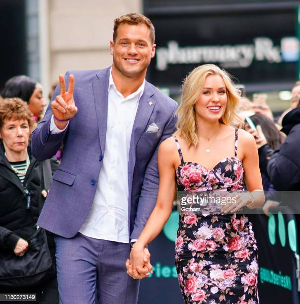 Colton Underwood and Cassie Randolph are seen outside of AOL Build on March 13 2019 in New York City