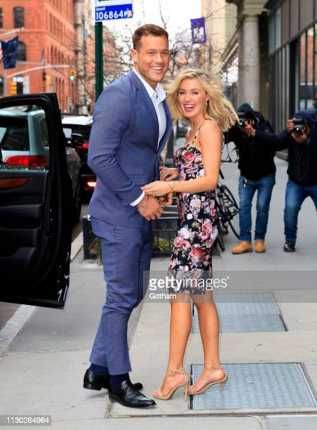 Colton Underwood and Cassie Randolph arrive at AOL Build on March 13 2019 in New York City