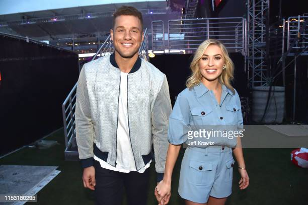 Colton Underwood and Cassie Randolph attend 2019 iHeartRadio Wango Tango presented by The JUVÉDERM® Collection of Dermal Fillers at Dignity Health...