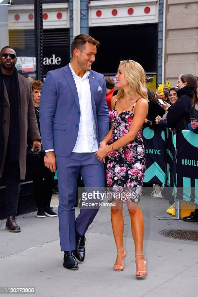 Colton Underwood and Cassie Randolph of 'The Bachelor' share a kiss as they leave a show in Manhattan on March 13 2019 in New York City