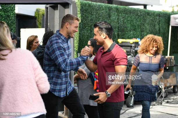 Colton Underwood and Mario Lopez visit Extra at Universal Studios Hollywood on January 08 2019 in Universal City California