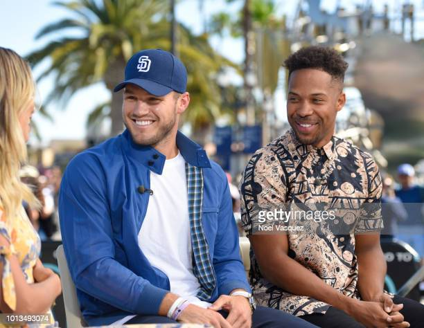 Colton Underwood and Wills Reid visit Extra at Universal Studios Hollywood on August 8 2018 in Universal City California