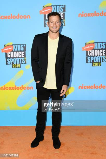 Colton Underwood attends Nickelodeon Kids' Choice Sports 2019 at Barker Hangar on July 11 2019 in Santa Monica California