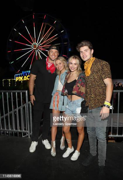 Colton Underwood Cassie Randolph Michelle Randolph and Gregg Sulkin attend The Neon Carnival with POKÉMON Detective Pikachu and The LG Mobile...