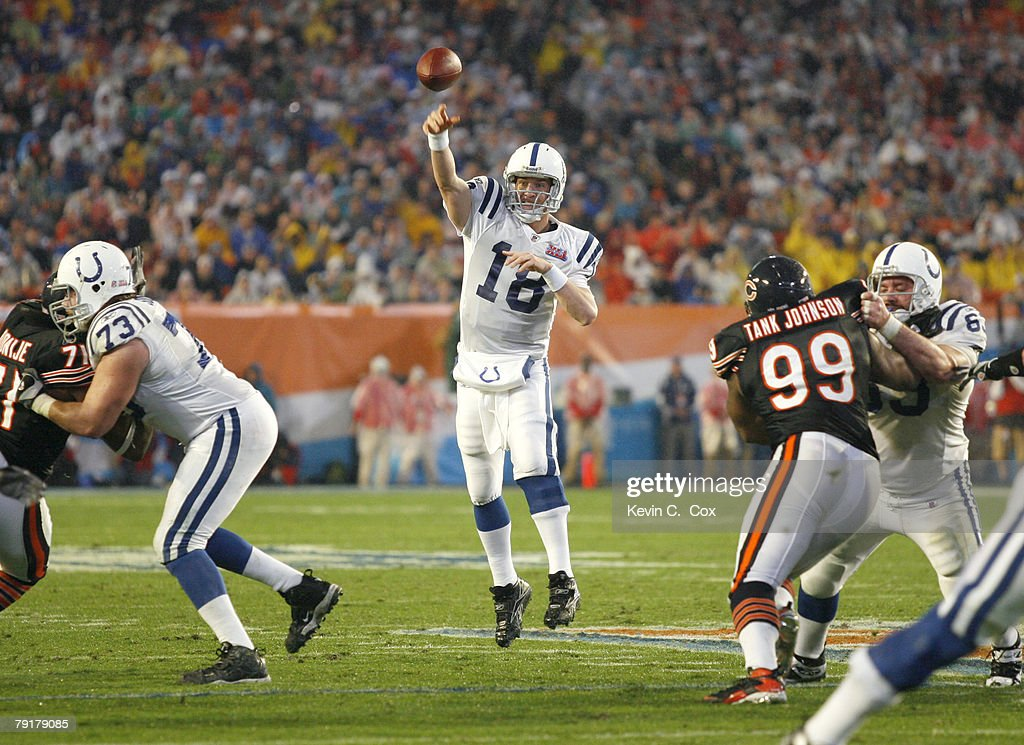 Colts Peyton Manning during Super Bowl XLI between the Indianapolis Colts and Chicago Bears at Dolphins Stadium in Miami, Florida on February 4, 2007.