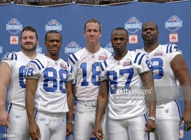 Colts Pro Bowlers Jeff Saturday, Marvin Harrison, Peyton Manning, Reggie Wayne, Tarik Glenn pose during Media Day prior to Super Bowl XLI at Dolphins...