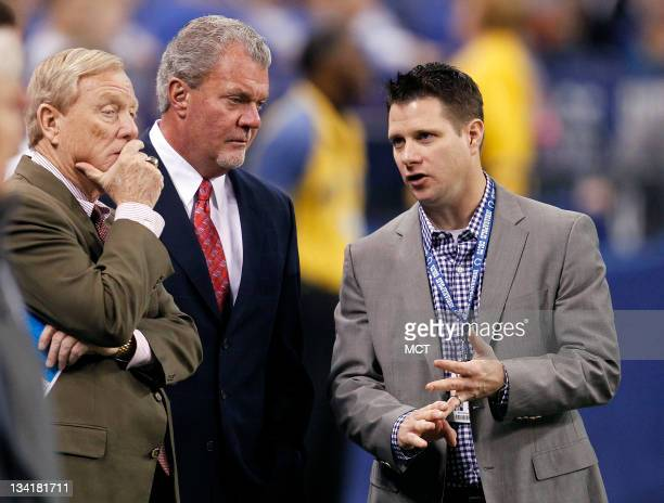 Colts Vice Chairman Bill Polian Owner Jim Irsay and Vice President and General Manager Chris Polian talk before their game on Sunday November 27 in...