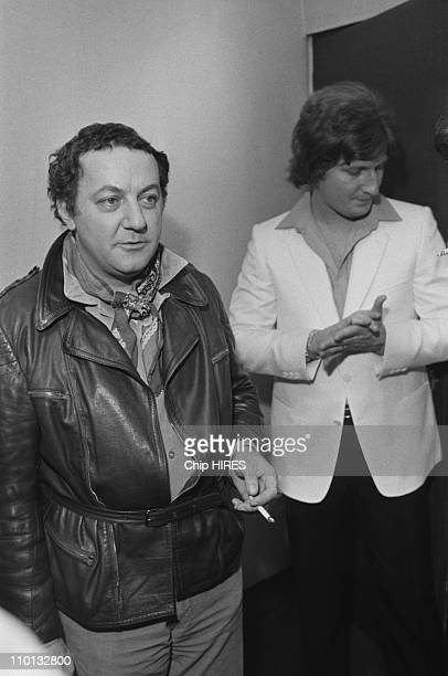 Coluche and Patrick Sebastian backstage at the Olympia in Paris France on December 17 1980