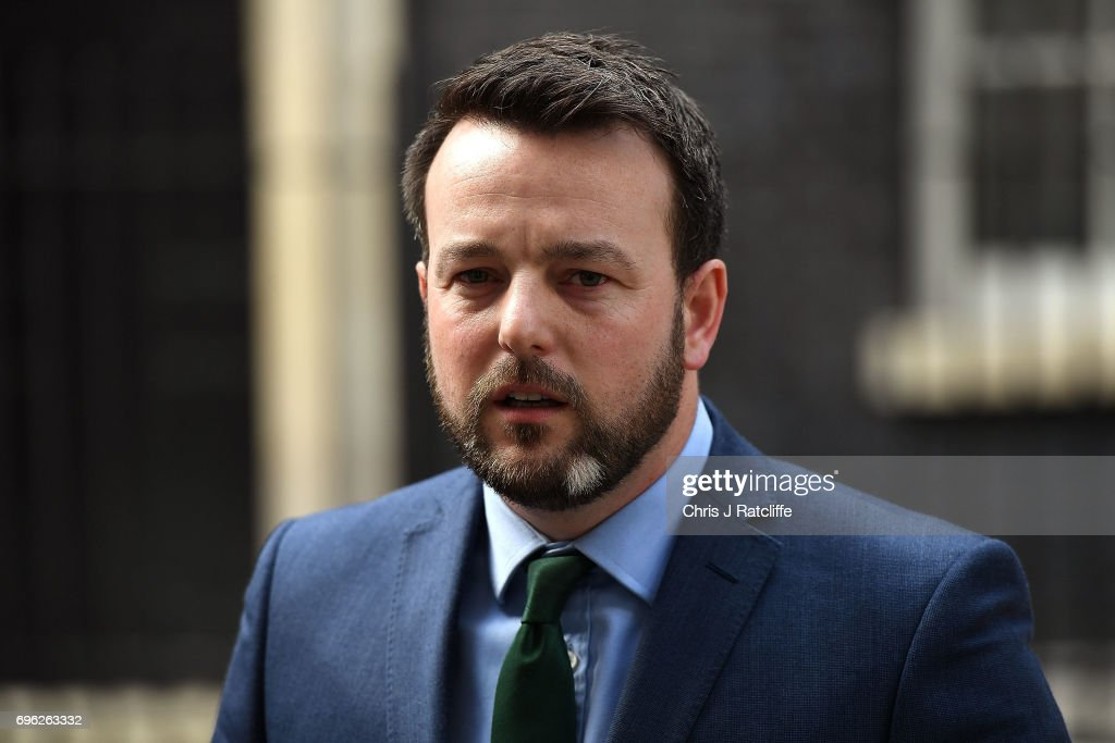 Colum Eastwood, leader of the Social Democratic and Labour Party speaks to the media outside 10 Downing Street on June 15, 2017 in London, England. Prime Minister Theresa May is due to hold a series of meetings with the main Northern Ireland political parties today to allay mounting concerns over a government deal with the DUP in the wake of the UK general election.