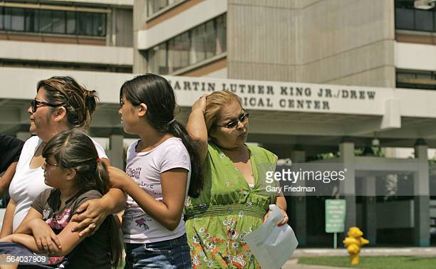 Columba Avena is the sister of Edith Rodriguez and she just addresses the press in front of Martin Luther King Jr – Harbor Hospital one day after it...
