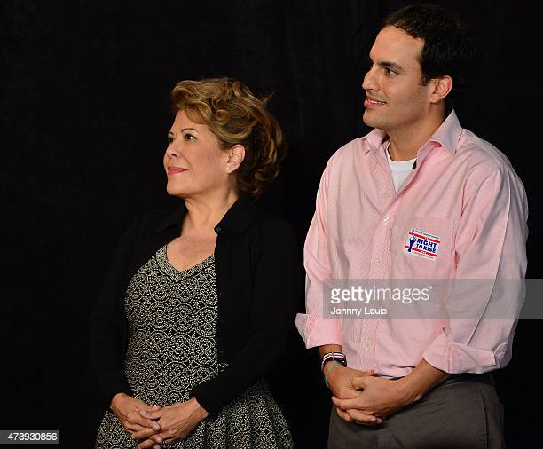 Columba Bush and her son Jeb Bush Jr listen as former Florida Governor and potential Republican presidential candidate Jeb Bush speak during a...