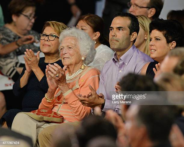 Columba Bush Barbara Bush and George P Bush as Former Florida Governor Jeb Bush announces his candidacy for the 2016 Republican Presidential...