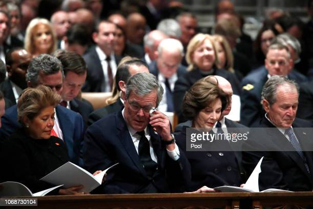 Columba Bush former Florida Gov Jeb Bush former first lady Laura Bush and former President George W Bush attend the state funeral for former US...